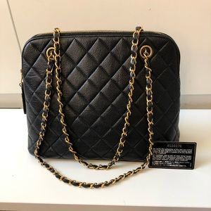 """CHANEL Caviar quilted tote 12""""L x 9""""H x 5"""" W"""